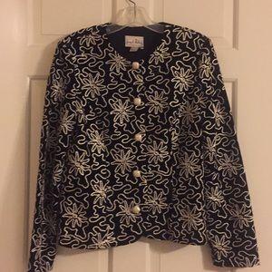 Black velvet with white thread design